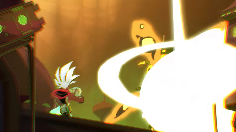 ekko from convergence and league of legends staring at a bright light