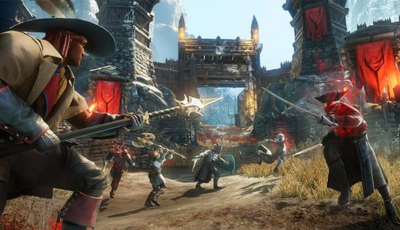 Players in New World wielding various weapons, preparing to attack a fort