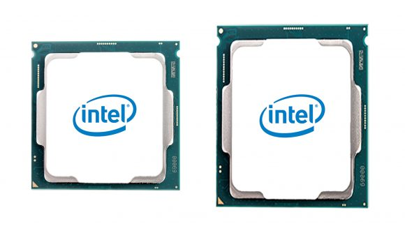 A photo of an Alder Lake CPU with its LGA 1700 attatchment, next to a previous generation Intel chip