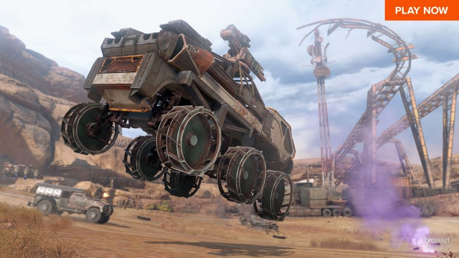 A massive armored vehicle sails through the air in one of the best Steam games, Crossout