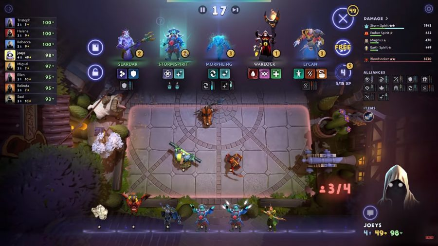 About to complete a level 2 Storm Spirit in one of the best free Steam games, Dota Underlords