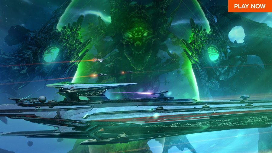 A terrible threat looms behind a sleep space craft in one of the best free steam games, Star Conflict