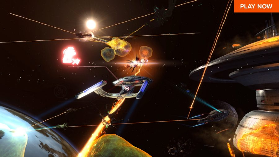 A space battle in one of the best free Steam games, Star Trek Online