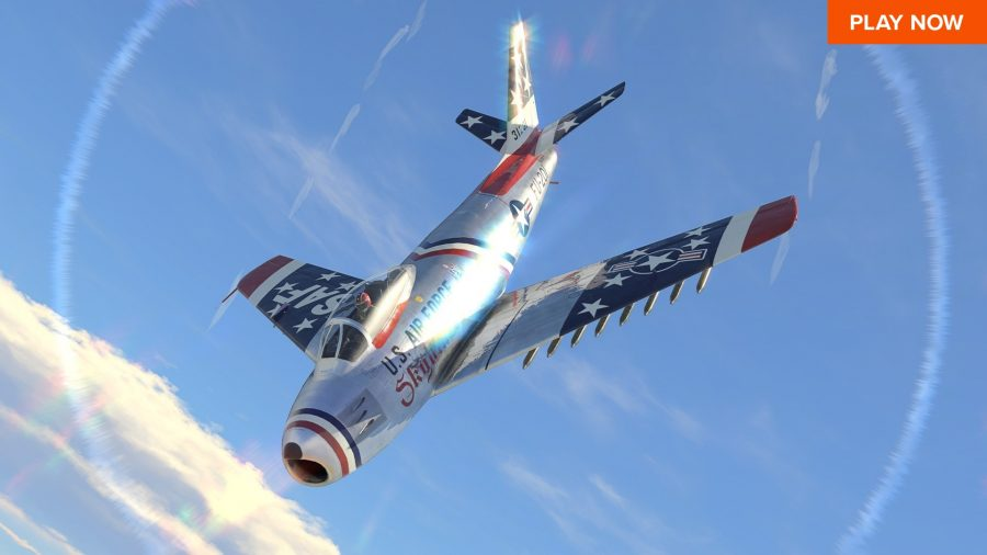 A patriotic American plane shining in the sun in one of the best free Steam games, War Thunder