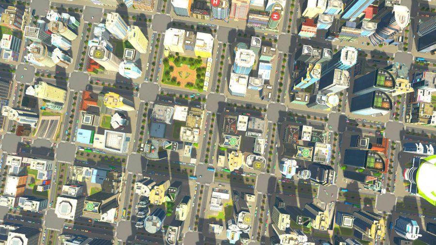 A bird's-eye view of a dense city