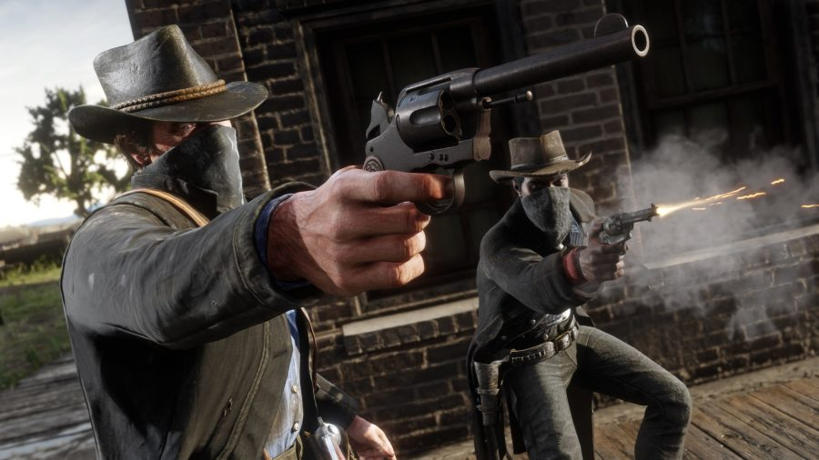 Two outlaws in Red Dead Redemption 2