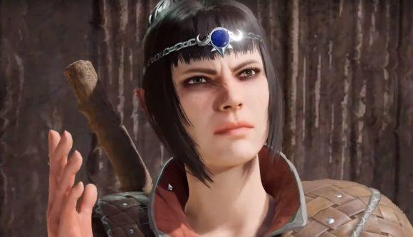 Shadowheart from Baldur's Gate 3 looking agitated