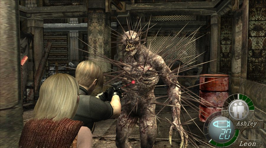 Ashley and Leon facing down a spikey zombie
