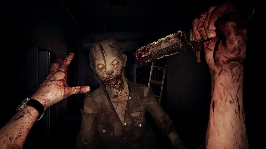 Walking Dead Saints & Sinners is another one of the best VR games. Here we see the protagonist about to stab a zombie in the face with a rusty razor.