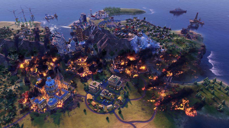 a civ 6 city on fire
