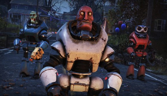 A Collectron wearing a Fasnacht Day mask in Fallout 76