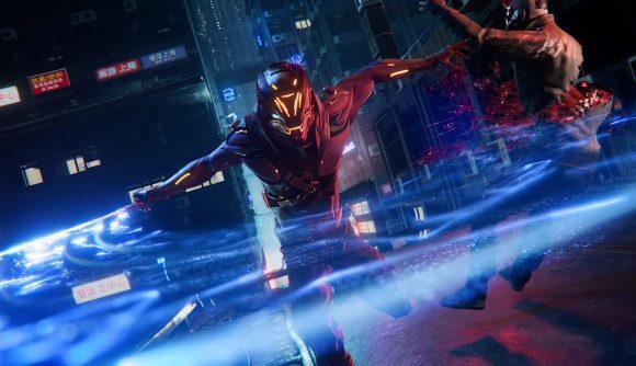 Ghostrunner swinging his sword