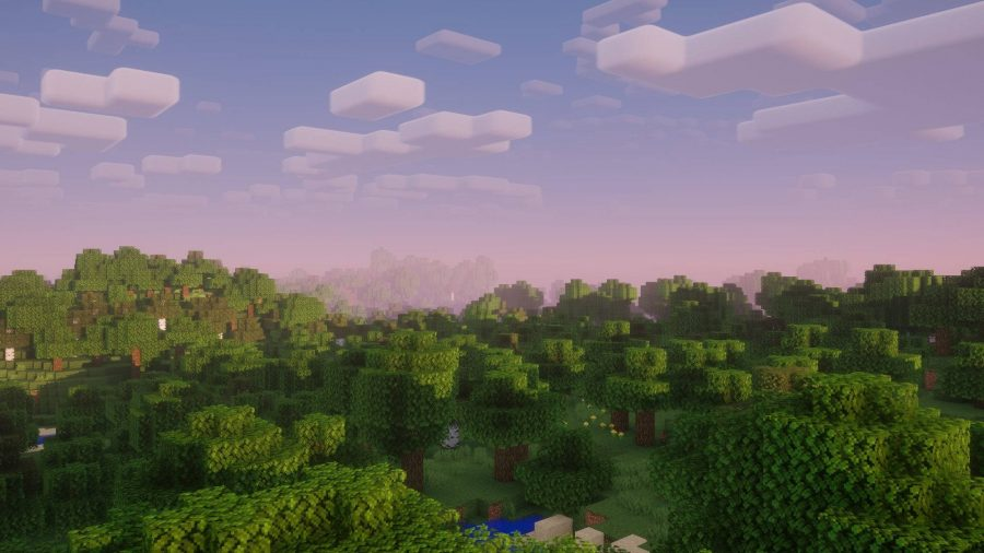 A view of the skyline and trees in the Nostalgia Minecraft Shader during sunset.