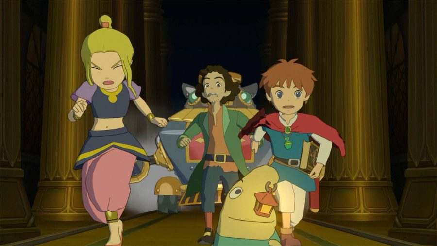 The main characters of Ni No Kuni Wrath of the White Witch, a game like Pokemon, escape.