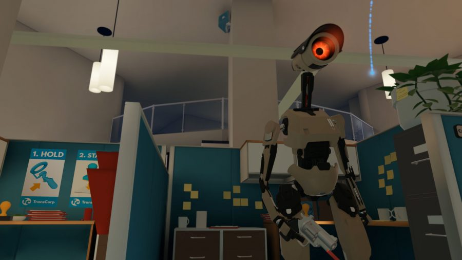 One of the robots patrolling the office with a pistol in Budget Cuts, one of the best VR games on PC. Its red beady eye is unblinking, always watching.