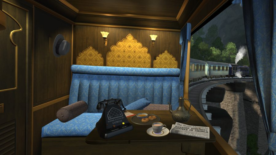 You, as an agent, are riding in a private cabin on the train in I Expect You To Die, one of the best VR games. A telephone is on a table, along with a newspaper, and a nice cup of tea. The messages light is on.