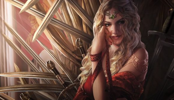 cersi lannister sits on the iron throne, she's smirking