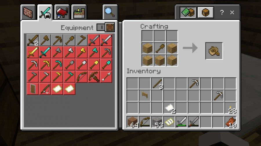 This is the boat recipe for the Minecraft Bedrock Edition.  It's the same version of Java (three planking on the bottom and two on the left and right in the middle row), but it also includes a wooden shovel in the center block in the middle row.