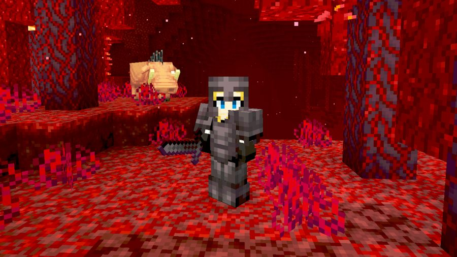 A Minecraft player character wearing a full set of Netherite armour, holding a Netherite sword