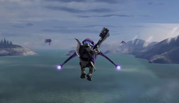 A Halo 3 player using the new acrophobia skull to smash a Banshee