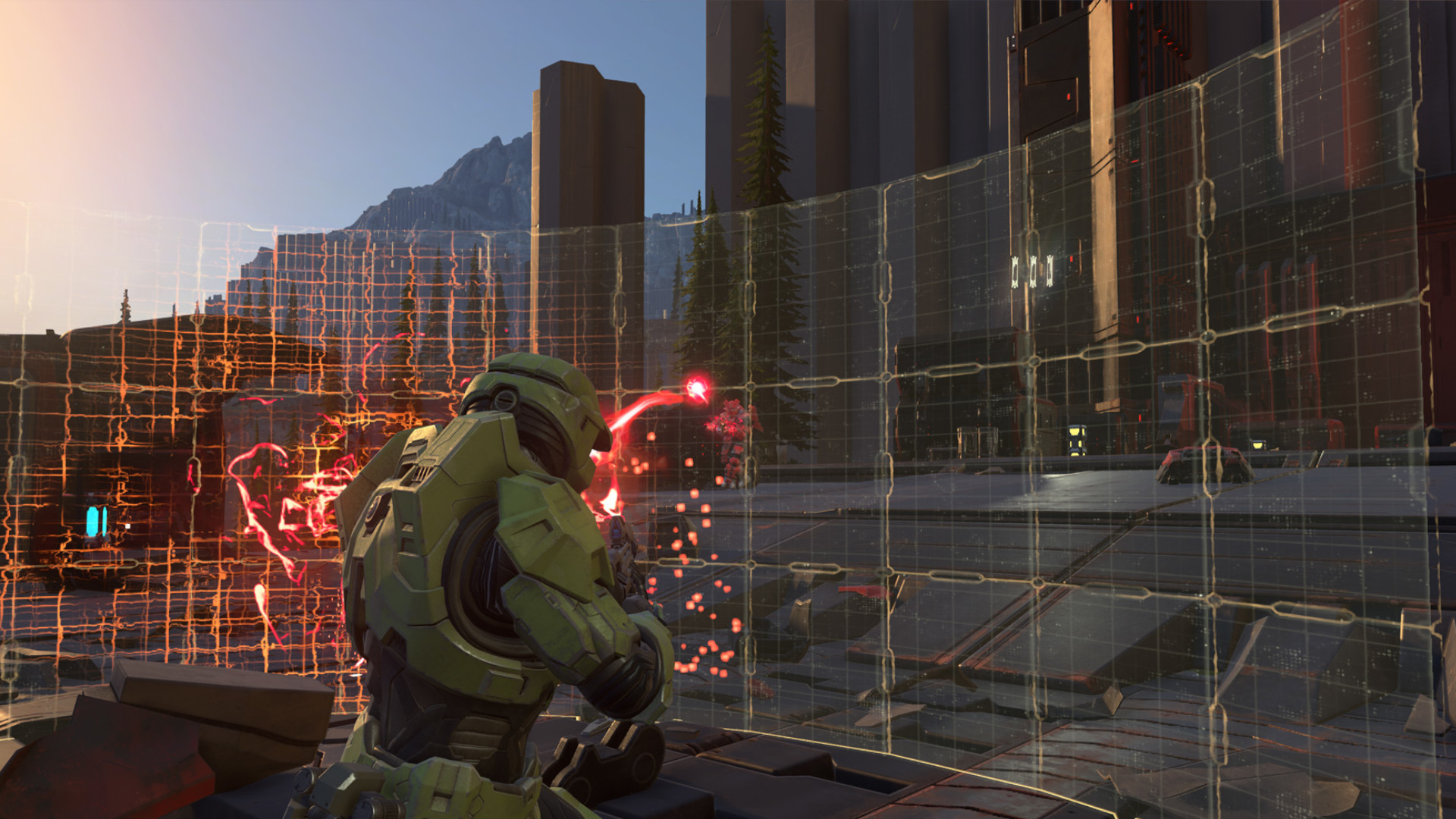 The Master Chief running into a semi-translucent wall in Halo Infinite.