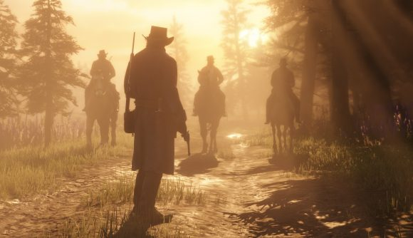 A gang approaching the protagonist of Red Dead Redemption 2