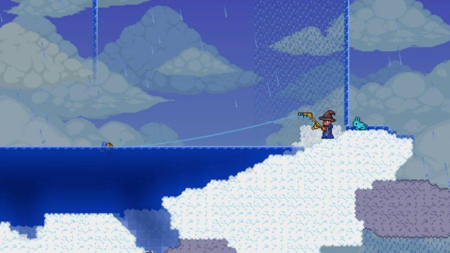 Terraria fishing in the sky
