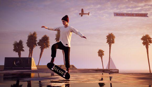A skateboarder doing the sickest of heelflips on Venice Beach. A plane flies overhead.