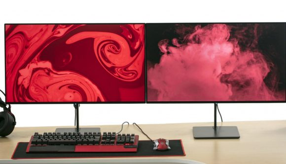 Eve Spectrum gaming monitor two facing colours