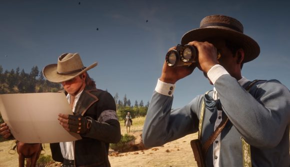 Two cowboys in Red Dead Redemption 2 looking off into the distance