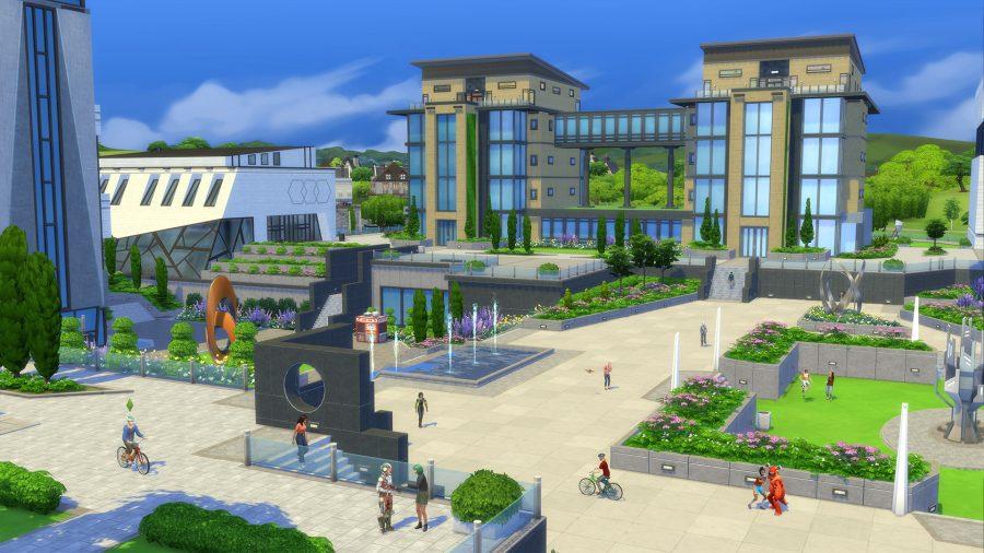 Общий вид университетского городка в Sims 4 Discover University