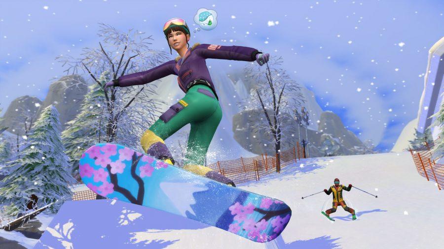 Сим катается на сноуборде в Sims 4 Snowy Escape