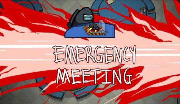 One of Among Us's bean men calling an emergency meeting
