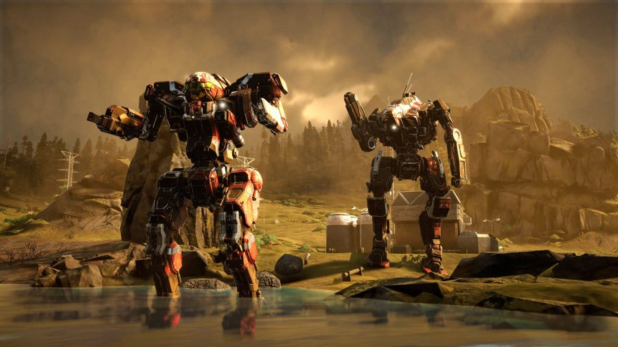 two mechs stand in a pond