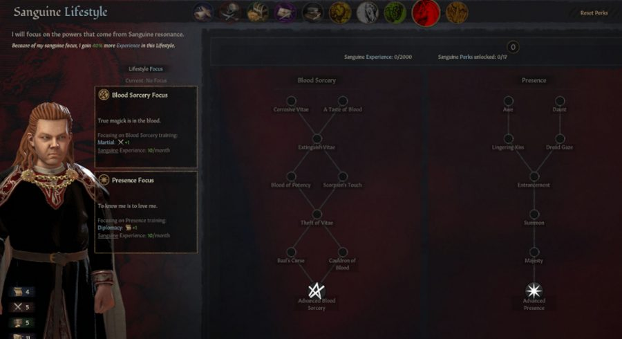 Screen showing the Sanguine Lifestyle. Advanced Blood Sorcery and Advanced Presence are highlighted as focuses.