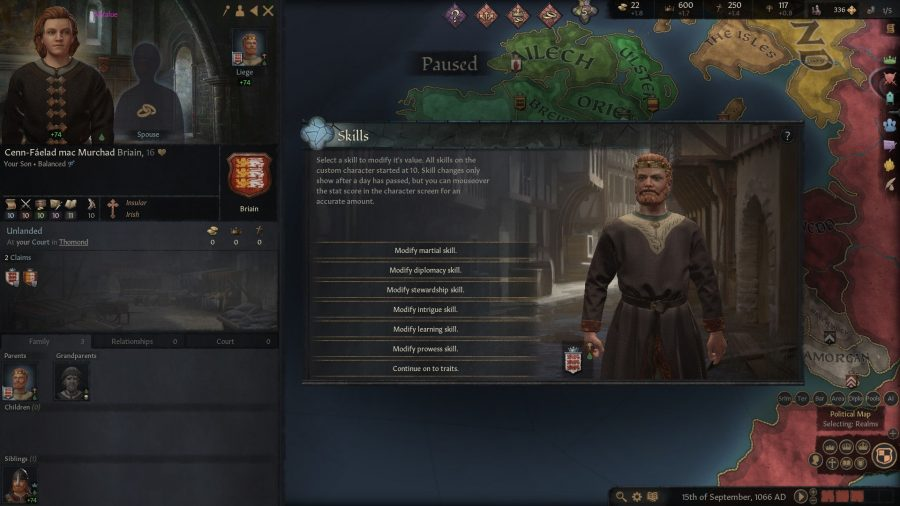 The skills screen to allow the player to modify their custom character. Player can modify martial, diplomacy, stewardship, intrigue, learning, or prowess skills.