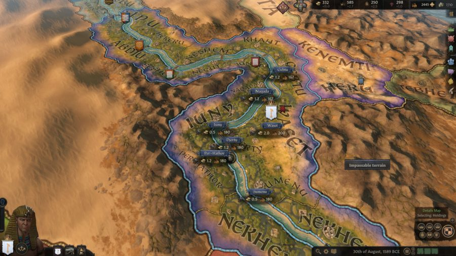 The player, as pharaoh, is looking at territory across the Nile.