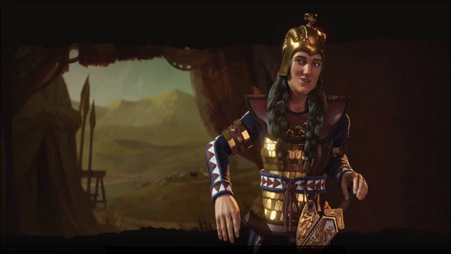 Tomyris of Scythia, dressed in golden armour. Some spears are placed outside of the tent entrance, leading to a desert