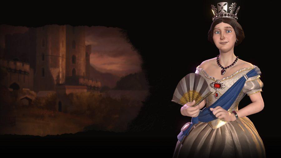 Queen Victoria standing regal amidst a dark backdrop