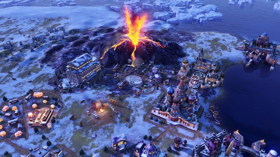 a volcano erupts above a city