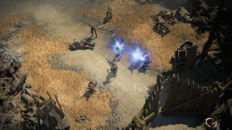 Персонажи Diablo 4 собираются перед воротами