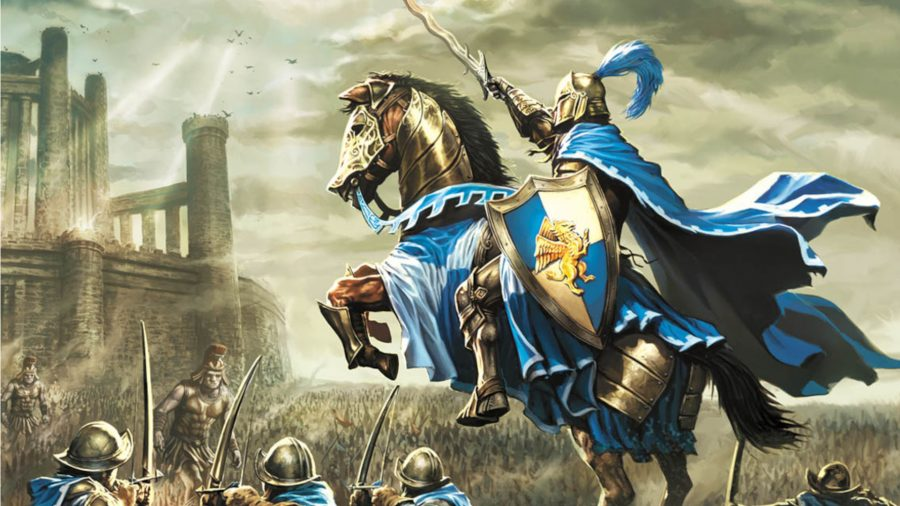 A gallant knight with a blue cape and a shield with a griffon on the sigil. He's ordering soldiers to attack the enemy army, including giants wearing Greek styled armour. A big castle looms in the background.