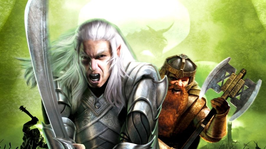 an elvent warrior with a blade and a dwarf with an axe. An off brand Legolas and Gimli