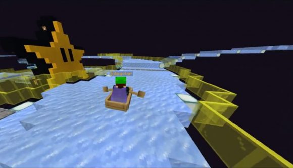 Minecraft player in a boat, sailing across their recreation of Mario Kart 64's rainbow road. A star looks on encouragingly.