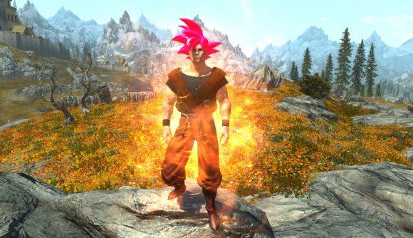 Player dressed as Super Saiyan God form Goku, complete with bright magenta hair and an orange gi.