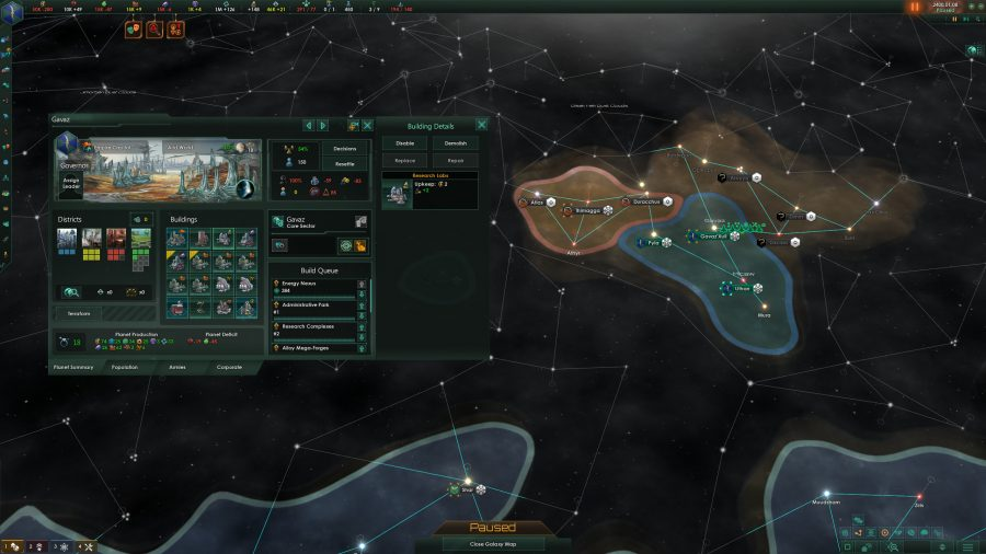 A zoomed in at the galaxy map, showing two empires sharing borders.