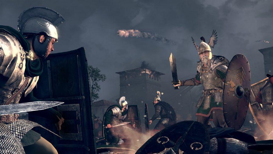 A Roman legion and a Gallic warrior field in the battlefield