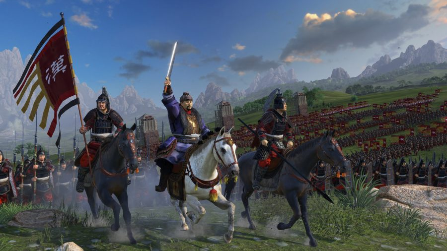 A massive Shogun army, complete with siege towers, looms in the background as three generals lead the way on horseback. The horses are graceful.