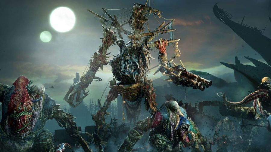 A huge army of scaly zombies and other horrific beasts from the deep, rise on the coastline.