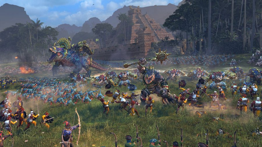A massive army of lizards, including a massive dinosaur, are attacking a small faction of Bretons.